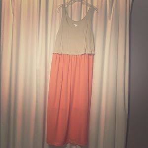 Beige and Coral Dress.